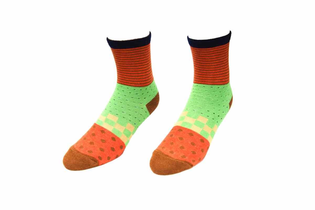【6614】- 拼圖條紋搭配襪(平面)